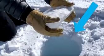 Een stuk ijs dat in een gat valt, produceert een geluid dat lijkt op een lichtzwaard, en deze video bewijst het