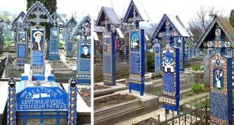 In Roemenië herinnert deze Vrolijke Begraafplaats aan de overledene met felle kleuren, ironische gedichten en gestileerde schilderijen