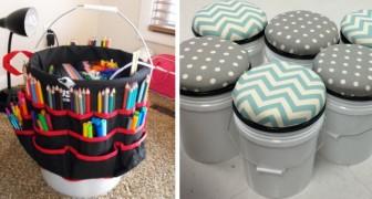 8 soluzioni ingegnose per riciclare i vecchi secchi di plastica e trasformarli in tanti oggetti creativi
