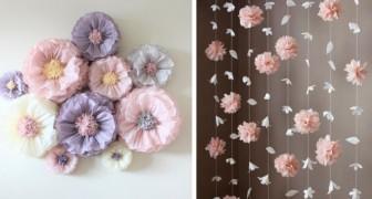 16 splendide idee per creare fiori e festoni fai-da-te in carta velina e decorare in modo originale