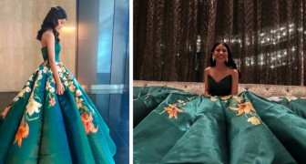 Elle crée sa propre robe pour le bal de fin d'année, en peignant à la main 80 splendides fleurs