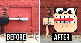 Deze kunstenaar kleurt de straten van New York met zorgeloosheid door muren, putdeksels en pijpen te verfraaien