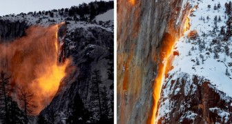Ogni febbraio, questa cascata della California sembra prendere fuoco con la luce del tramonto