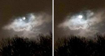 L'œil de la tempête : une femme saisit le moment où la Lune réapparaît entre les nuages après une averse