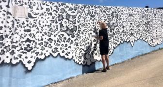 Questa ragazza riproduce merletti dalle perfette forme geometriche sui muri di tutto il mondo