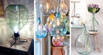 13 soluzioni irresistibili per trasformare le vecchie damigiane in lampade e arredi originali