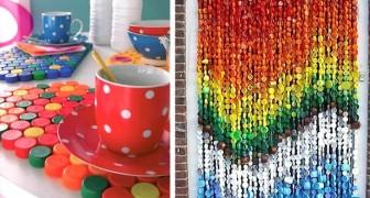 7 lavoretti facili e colorati per riciclare i tappi di plastica in modo creativo
