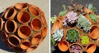 12 idee imperdibili per decorare il giardino in modo fantasioso usando vasi di terracotta