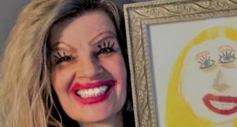 Cette mère a publié un selfie dans lequel elle pose à côté du portrait fait par sa fille 10 ans plus tôt