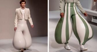 Een stylist presenteerde opblaasbare latex broeken met vervormde en gekleurde vormen op de catwalk