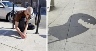 Uno street artist ha tappezzato le vie di questa città con ombre dipinte sulla strada per riqualificare l'area