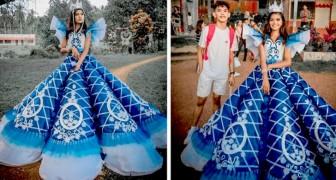 Esta menina não tem condições de comprar o vestido para o baile, então seu irmão faz um para ela com suas próprias mãos