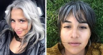 Donne che hanno scelto di non fare più la tinta e di mostrare orgogliosamente i propri capelli grigi