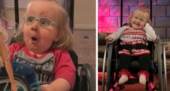 The disabled girl receives a special Barbie as her gift: blonde and with a blue wheelchair