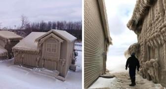 Una forte tempesta ha ricoperto di ghiaccio alcune case vicino il Lago Erie, trasformando la città nel set di Frozen