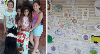 5 meisjes besluiten hun tekeningen te verkopen om voedsel te kopen voor de zwerfhonden in hun wijk