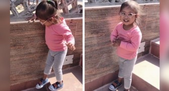After many attempts, this girl with Down syndrome finally managed to go down the stairs alone