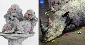 Un'artista trasforma dei semplici fogli di giornale in sculture a tema animale dall'enorme realismo