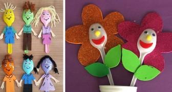 15 semplici progetti creativi per riciclare posate di plastica, ideali per divertirsi con i bambini