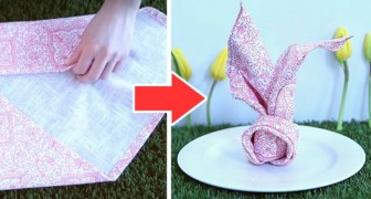 Il metodo semplice e rapido per piegare un tovagliolo a forma di coniglietto, ideale per Pasqua