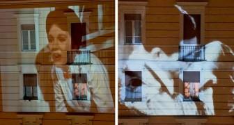 Cinema da casa: i film più amati vengono proiettati sui muri dei palazzi dell'Italia in quarantena per il Coronavirus