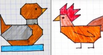 7 dessins stylisés très faciles à réaliser sur des feuilles à carreaux, parfaits pour amuser les enfants