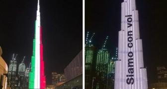Dubai, sul grattacielo più alto del mondo compare la bandiera italiana e una frase di supporto: Siamo con voi