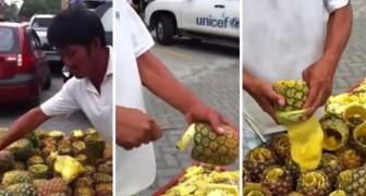 Det här är det snabbaste och mest HYGIENISKA sättet för att skala en ananas... Vilken talang!