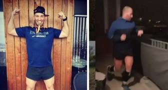 Hij kan niet trainen in de sportschool omdat hij in isolatie zit: een jongen loopt een volledige marathon op zijn balkon