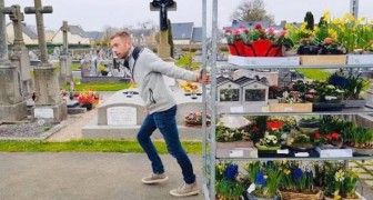 The Coronavirus forces this florist to temporarily close his shops, so he places all of his unsold flowers on the tombs of his town's local cemetery.