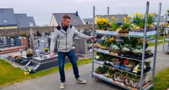 Questo fioraio ha portato tutti i fiori invenduti al cimitero della sua città per abbellire le tombe dei defunti