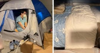 Questo medico dorme in una tenda da campeggio in garage per proteggere la sua famiglia dal Covid-19