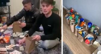 Deux garçons aident les personnes âgées pendant le coronavirus en leur apportant des provisions et du papier toilette