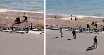 Coronavírus: um policial enche o quepe de água para apagar a fogueira que um casal tinha feito na praia