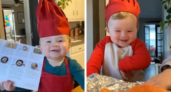 This 1 year old is already a little chef who enjoys giving cooking lessons on the web