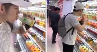 2 ragazzi al supermercato bevono succo di frutta e lo rimettono a posto per diffondere il Coronavirus: arrestati