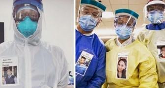 Ces infirmiers portent des badges avec des photos souriantes pour permettre aux patients de voir au-delà des masques
