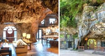 Een huis gebouwd in een echte grot: het perfecte huis voor liefhebbers van natuurlijke maar elegante sferen