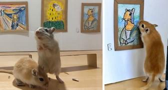 Una coppia in quarantena costruisce un museo in miniatura per i suoi roditori, con tanto di capolavori dell'arte