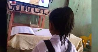 Coronavirus: questa bimba diligente segue le lezioni da casa vestita come se dovesse andare a scuola