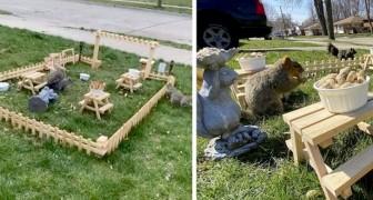 Un ragazzo in isolamento costruisce un mini ristorante in giardino per uccelli e scoiattoli