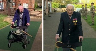 Op 99-jarige leeftijd slaagt hij erin meer dan 10 miljoen pond op te halen voor het goede doel, alleen door met de rollator te wandelen