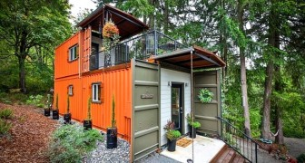 Una coppia ha trasformato due container in un'originale mini-casa: è piccola ma piena di tutti i comfort