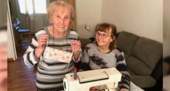 Varje dag syr den här lilla 100-åriga farmorn hundratals munskydd för de som behöver dem