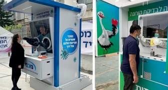 Coronavirus: in Israël wordt in cabines in alle veiligheid getest