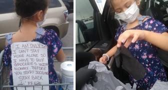 Mamman handlar med sin 5- åriga dotter som inte kan vara hemma själv trots covid-19 och alla tittar snett på henne