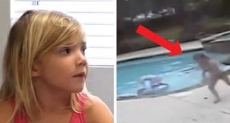 Mamman svimmar i bassängen, hennes 5-åriga dotter simmar dit och lyckas rädda henne från att drunkna