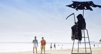 Un uomo si veste da Tristo Mietitore per protestare contro la prematura riapertura delle spiagge in Florida
