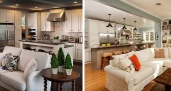 Einige praktische und elegante Lösungen für ein Wohnzimmer mit offener Küche: 11 Fotos zur Inspiration