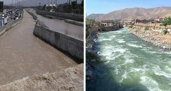 Peru: vanwege de quarantaine worden de wateren van een sterk vervuilde rivier kristalhelder